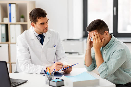 Patient having a discussion with a doctor